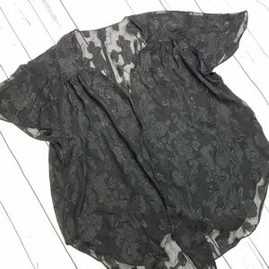 Vintage Black Sheer Floral Kimono Lingerie Top